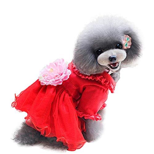 La-la-samtrock (CautPY Weihnachtskleid für Hunde, Pfingstrosen, Winter, mit Samt-Rock, für kleine Haustiere)