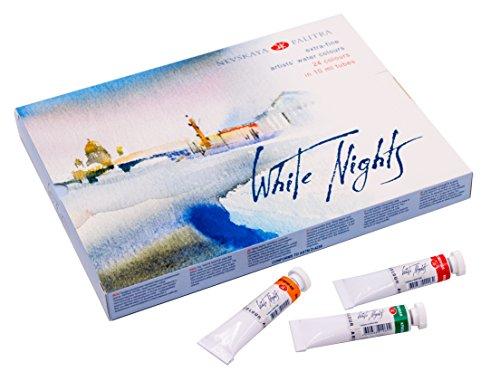 Extrafeine Künstler Aquarellfarben 24 Farben in 10 ml Tuben WHITE NIGHTS