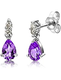 Miore USP007E5W 9 ct White Gold 0.08 ct Diamond and Amethyst Drops Earrings