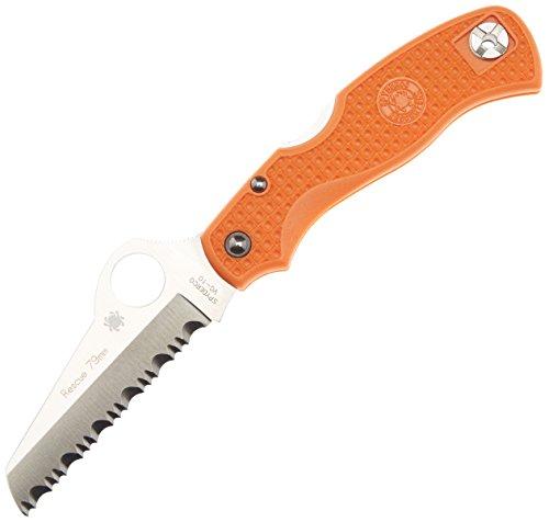 Spyderco C45SOR Couteau de Poche à Lame dentelée Rescue Jr Orange