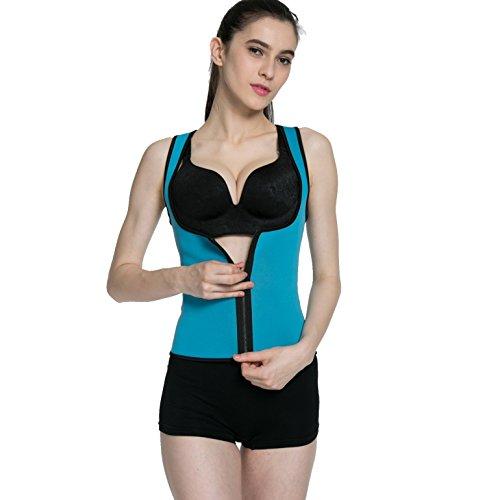 ALICE-X&S Frauen Reversible Abnehmen Körper Shapewear Sport Sweat Sauna Shirts Blue