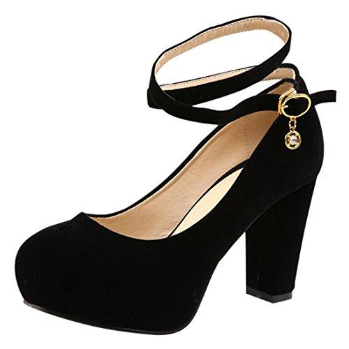 YE Damen Blockabsatz High Heels Plateau Wildleder Runde Spitze Geschlossen Pumps mit knöchelriemchen Elegant Party Kleid Schuhe Schwarz