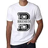 Herren Tee Männer Vintage T shirt Letter B Countries and Cities BREMEN Weiß