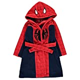 Spiderman Childrens Hooded Robe Dressing Gown Nightwear Kids by Marvel Comics (Red/Navy, 7-8 Years)