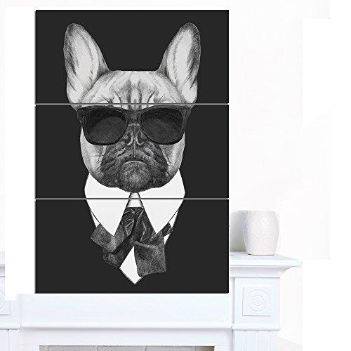 Art-design Designart French Bulldog Fashion Portrait Large Animal Wandbehang 28x36-3 Panels schwarz -