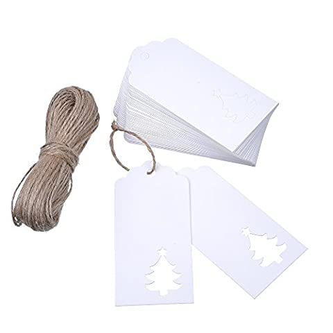 Outus White Kraft Paper Gift Tags (100 Pieces) Hollow Christmas