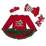 4pcs vestito neonata natale Tutu Romper + Fascia + Scarpa + Leggings Santa del partito del vestito, 3-6 mesi
