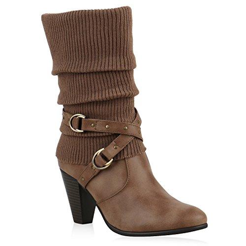 Klassische Stiefeletten Damen Stulpen Strass Stiefel Schuhe 125808 Khaki 40 Flandell