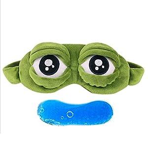 Sanzhileg Schöne Frösche Augen Schlafaugenmaske Elastische Binde Eyeshade Cover Augenklappe Augenbinden Für Flug Reise Büro Nacht Schlaf – Grün