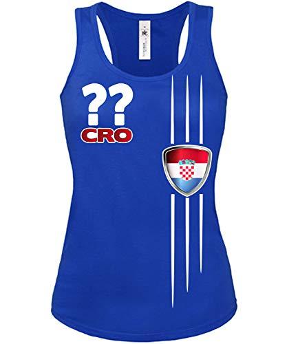 Kroatien Croatia Hrvatska Wunsch Zahl ohne Name Fan t Shirt Artikel 4300 Fuss Ball Tank Top für Mädchen EM 2020 WM 2022 Trikot Look Frauen Damen S