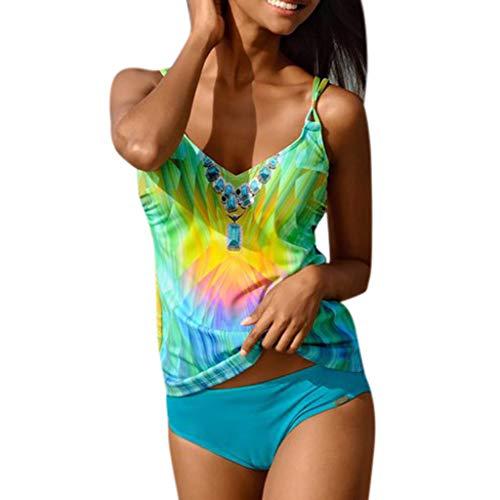 TTLOVE_Damen Schlankheits Badeanzug Riemchen Bademode Tankini Gepolsterte Bikini Beachwear Frauen Schwimmen KostüM Strandmode Strandkleidung (Grün,L) (Rabatt Kostüm Frauen)