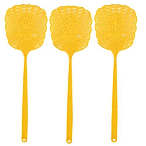 Kunststoff aushöhlen Blume Mosquito Küchenschabe Fliegenklatsche 3 PC-Gelb
