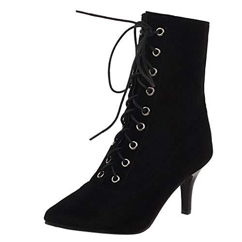 Watopi Stiefel Damen mit Absatz Mode Wildleder High Heels Schnür Einfarbig Kurze Stiefel Spitz Schuhe