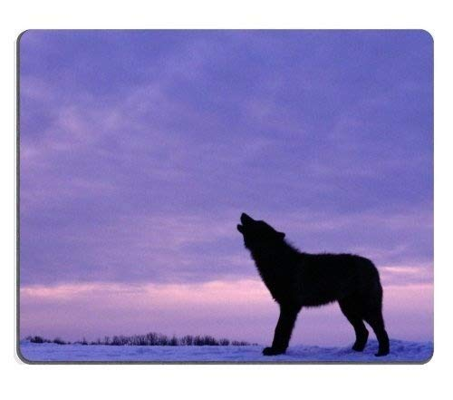 Wild-tier-silhouette (Tiere Heulen Wilde Tiere in der Silhouette der Wolf Kalte Schnee Computer - Maus - Pads Mousepad)