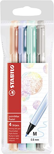 Filzschreiber - STABILO pointMax - 4er Pack - Pastellfarben - kobaltblau hell, eisgrün, hellrosa, hellgrau