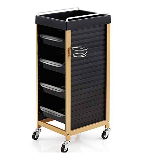 Peluquería herramienta 5 cajones secador de pelo bandeja herramienta de metal carrito de almacenamiento universal ruedas negro,A
