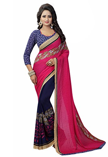 Ishin Faux Georgette Purple & Pink Half & Half Printed Party Wear Wedding Wear Casual Wear Festive Wear Bollywood New Collection Latest Design Trendy Women's Saree/Sari  available at amazon for Rs.449