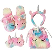 Modi Non-Skid Fluffy Rainbow Unicorn Slippers,Cozy Blinders,Fluffy Drawstring Bags,Plush Head Bands for Women Indoor,Gifts for Girls ...