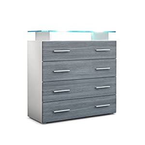 Vladon Chest of Drawers Cabinet Pavos V2, Carcass in White matt/Front in Avola-Anthracite