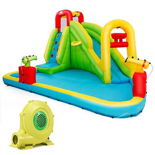 COSTWAY Hüpfburg mit Gebläse, Wasserrutsche Spielpool Aufblasbare, Wasserspielcenter mit Rutsche, Wasserpark aufblasbar, Planschbecken 400 x 335 x 230cm Farbig