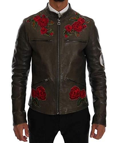 Dolce & Gabbana - Herren Leder Jacke - Grün - Floral - Green Leather Roses Embroidered Jacket Größe IT48 | M -