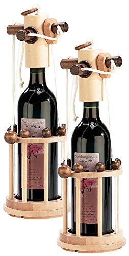 Playtastic Verpackung für Wein: Flaschen-Puzzle Verona aus stabilem Echtholz, 2er-Set (Rotwein Holz-Flaschenpuzzle)
