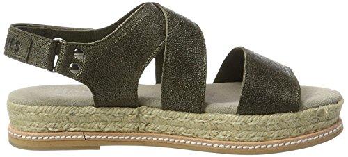 Shabbies Amsterdam Shabbies Sandale Metallic MIT Fußbett, Sandales Bout Ouvert Femme Grün (Dark Olive)