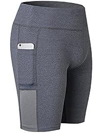 SWISSWELL Damen Joggen Shorts Sport Kurze Leggings Fitness Tights Yoga Shorts Kurze Hosen Mesh Radlerhose Hot Pants Hipster Workout mit Taschen