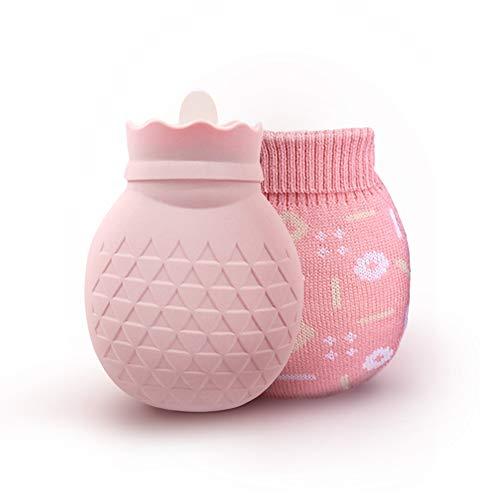 Wärmflasche mit bezug, ipow Wärmeflaschen Strick Abdeckung Schnell Komfort zur Behandlung von Bauch/Rückenschmerzen, für kalte Umschläge bei Muskel verstaucht, Verbrühungen und Fieber - Pink