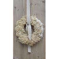 Curly Moos Kranz ca. 22 oder 27 cm natur-gebleicht mit oder ohne Band Türkranz Tischdeko Moos