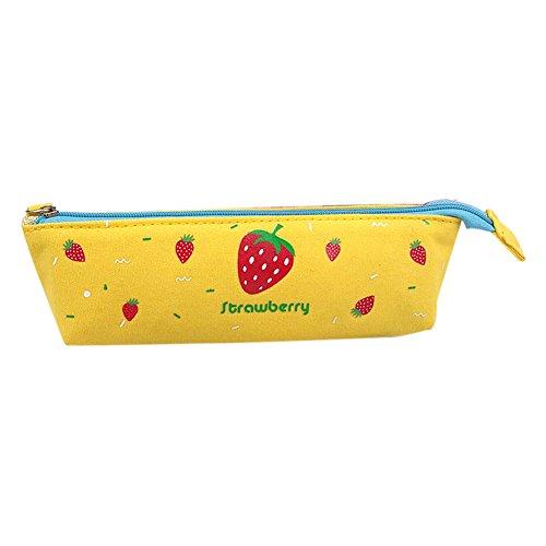 fabl Crew 1Trousse Crayon sac papier à lettre poche de papeterie BOX créatif papier à lettre jaune motif fraises Motif toile fermeture éclair 18* 5* 5,5* 3cm Fablcrew