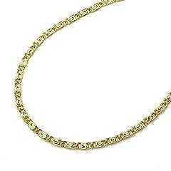 Idea Regalo - Collana in oro giallo 14 kt / oro 585, unisex - larghezza 3,50 mm, lunghezza a scelta e Oro giallo, cod. S-PA-14-35