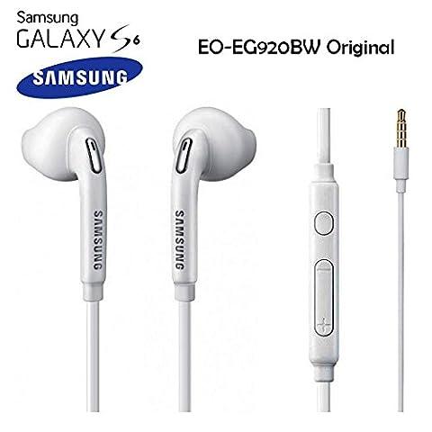 Samsung - Ecouteurs / Kit Piéton EO-EG920BW Origine Blanc Samsung Galaxy S6 / S6 Edge G920-G925