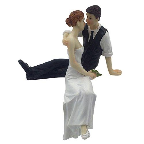 E-muse cake topper matrimonio coppia di sposi seduti 5 pollici altezza