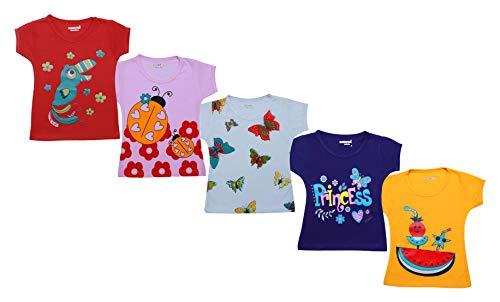 Kuchipoo Baby Girls' Cotton T-Shirt- Pack of 5 (KUC-TSHRT-110-1-2 Years, Multi-Coloured, 1-2 Years)