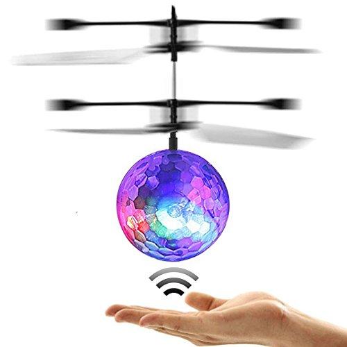 POAO RC Fliegender Ball,Mini Flugzeug-Hubschruber,Infrarot Induktionshubschrauber Ball Spielzeug (Disco Lichter)