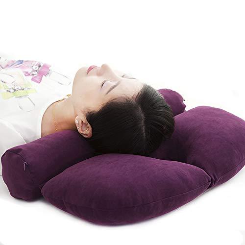 Cervical rund Rolle Schmerzlinderung Kopfstütze Bio Buchweizen Bett schlafen Kissen Orthopädische Nackenrolle mit für Seite, Rücken und Bauch, besser schlafen Linear Traktion, hypoallergen violett