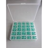 25 grüne Spulen FÜR Husqvarna in praktischer Box, Nähmaschinen Spulenbox