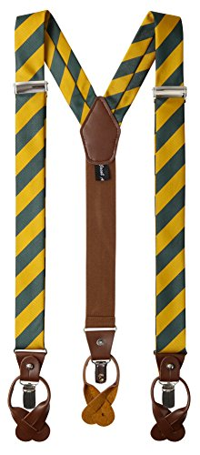 Jacob Alexander Men's College Stripe Y-Back Suspenders Braces Convertible Leather Ends and Clips - Green Gold -