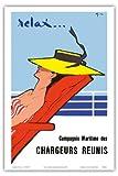 Entspannen Sie sich ... - Compagnie Maritime des Chargeurs Réunis (Maritime Gesellschaft von Großverladern) - Frankreich - Alte Ozeandampfer Reise Plakat Poster von Rene Gruau c.1950s - Kunstdruck - 31cm x 46cm
