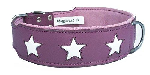 Hundehalsband, Leder, Violett mit 6weißen Sternen, für 55,9–66cm Hals