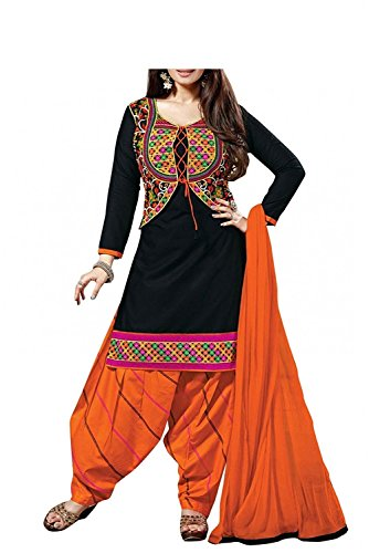 Sarees Creation Women\'s Faux Cotton Salwar Suit (!!#Aisha Koti_Black_Free Size)