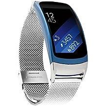 Correa para Gear FIT2 Pinhen, correa de pulsera de acero inoxidable de lazo magnético, pulsera de recambio para Samsung Gear Fit 2 SM-R360, reloj inteligente Fitness con GPS