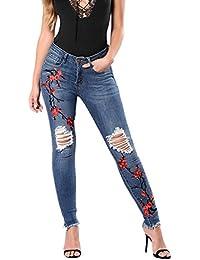 Donna Pantaloni Lunghi Slim Jeans Strappati Elastico Ginocchio lacerato  Ricamato Vita alta Stiramento Denim Pantaloni dritti 624455d4caf9