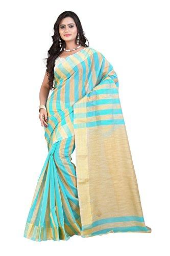 Mimosa Women Kanchipuram Cotton Silk Saree with Jute Stripes with Blouse (3039-7017-Pista, Green)