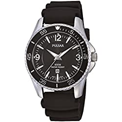 Pulsar Women's Black Rubber Band Steel Case Quartz Analog Watch PH7367X1