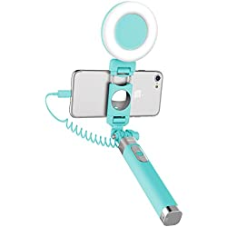ROCK iPhone 7 Bastone Selfie con LED la luce,LED Fill light Selfie Stick[iPhone Lightning Spina][Specchio][183mm a 695mm]per iPhone 6/6s,iPhone 6 Plus/6s Plus,iPhone 7/7 Plus - Azzurro
