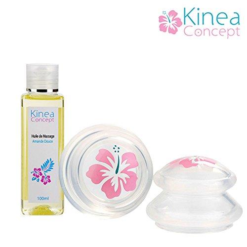 Huile de massage amande douce et ventouse anticellulite spécial amincissement effet ultra drainant, KineaConcept