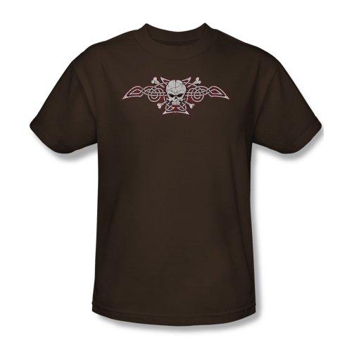 Celtic & Skull Bones-Maglietta da uomo marrone marrone