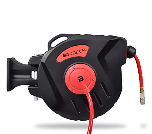Avvolgitubo ad aria compressa con supporto parete, manico ergonomico e meccanismo per bloccaggio tubo ed avvolgimento automatico (20mt)